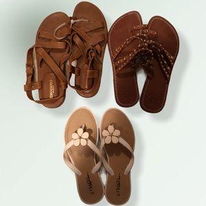 3 Piece Summer Sandal Lot BCBG Leather Size 7/8